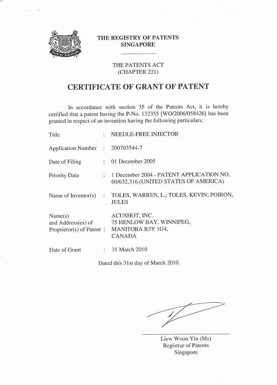Singapore Patent