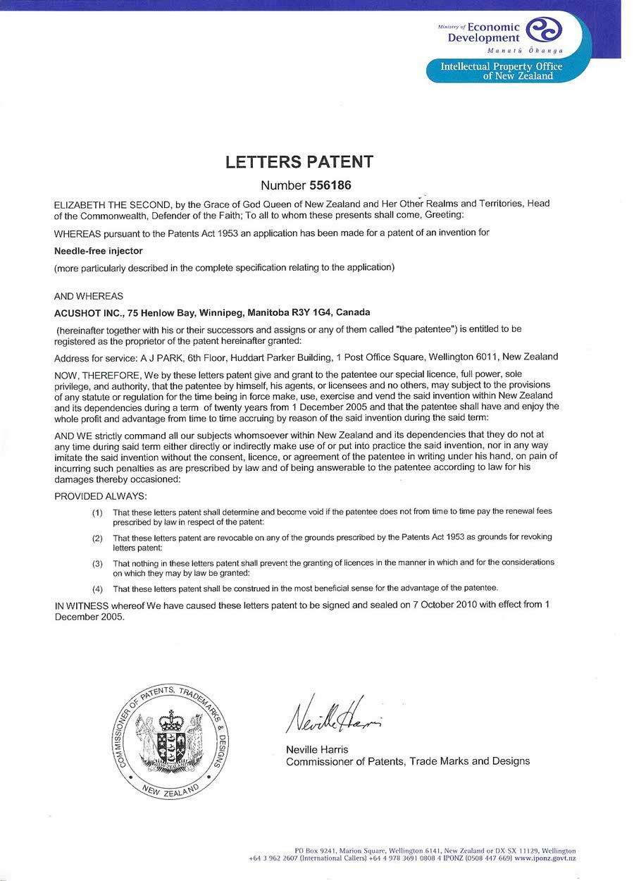 New Zealand Patent