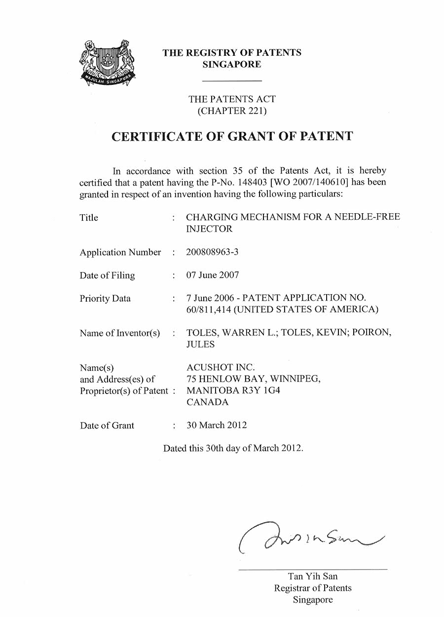 Singapore Patents
