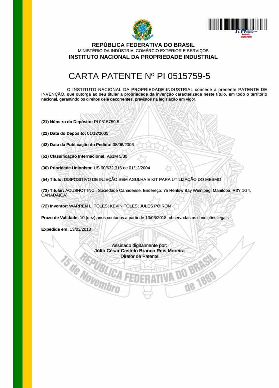 Brazil Patent